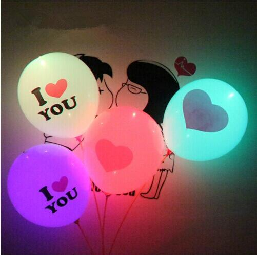China Market supply party decoration decorations <strong>wedding</strong> Valentine's Day 12 inch balloons printing colorful led balloon