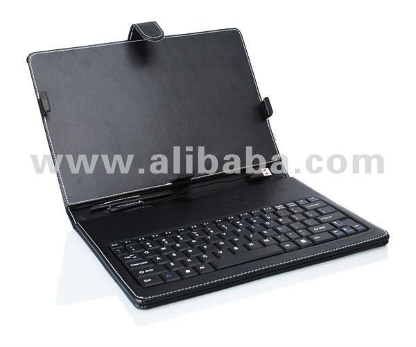 "PU Leather Portfolio Case with Mini USB Keyboard for 10"" Tablet PC"
