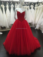 New Long Party Evening Dresses Fashionable Crystal Deep Sweetheart Lace-Up Back Red Tulle Evening Prom Party Dress 2016 P1001-1