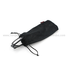 Black Small Nylon Mesh Drawstring Bag For Glasses