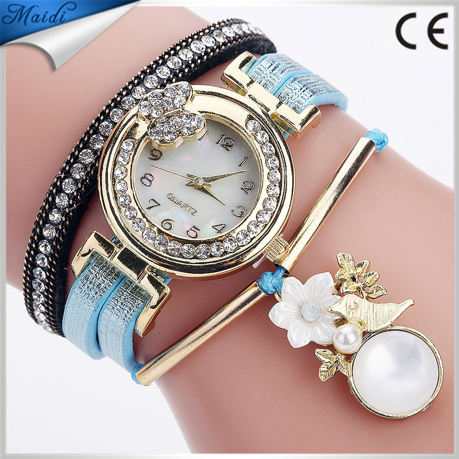 Alibaba Hot Women Fashion Bracelet Pearl Watches Top Brand Leather Band Ladies Casual Quartz Wrist Watch WW153