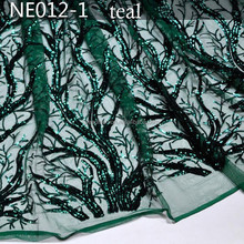 NE012-1 army green cotton tulle lace with lots of sequins