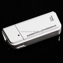 Mini portable mobile cell phone emergency phone charger with flashlight