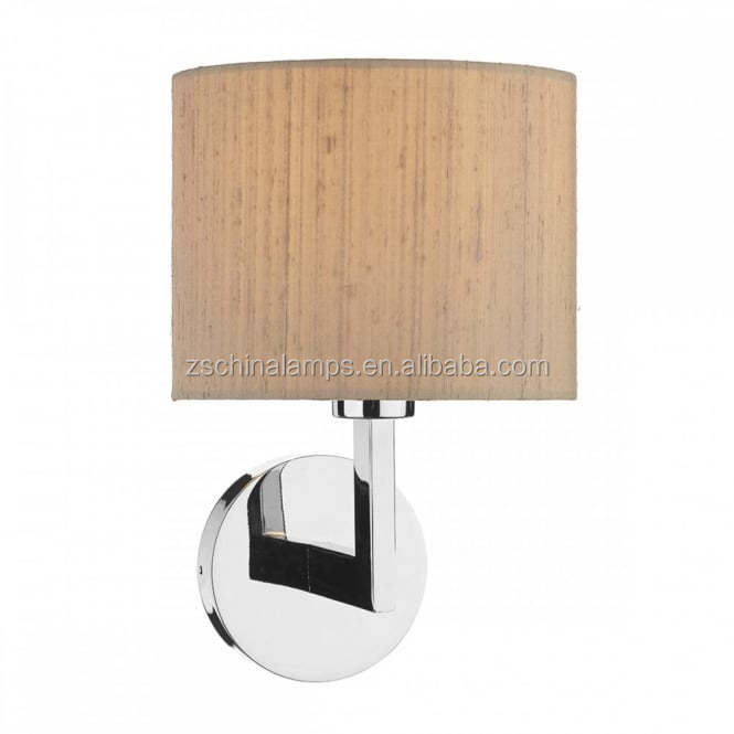 Factory price hot sale the lighting book ferrara polished chrome hotel style wall light complete with taupe silk shade