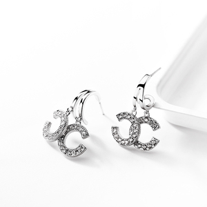 925 Sterling Silver advanced CC earring Women French style 2019 New style