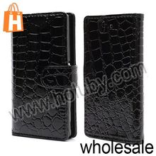 Crocodile Pattern Magnetic Flip Wallet PC+Leather Case for Sony L36h Xperia Z C6603 C6602