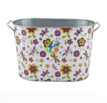 Printing metal party beverage tub with flower pattern