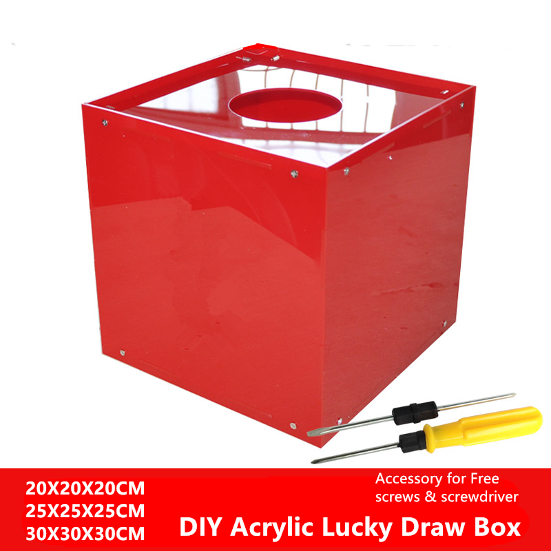 DIY Acrylic Box High Quality Red Color Lucky Draw Box