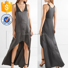 Black Charcoal Silk Satin Sleeveless Asymmetric Hem Maxi Dress For Ladies Manufacture Wholesale Fashion Women Apparel (TF1087D)