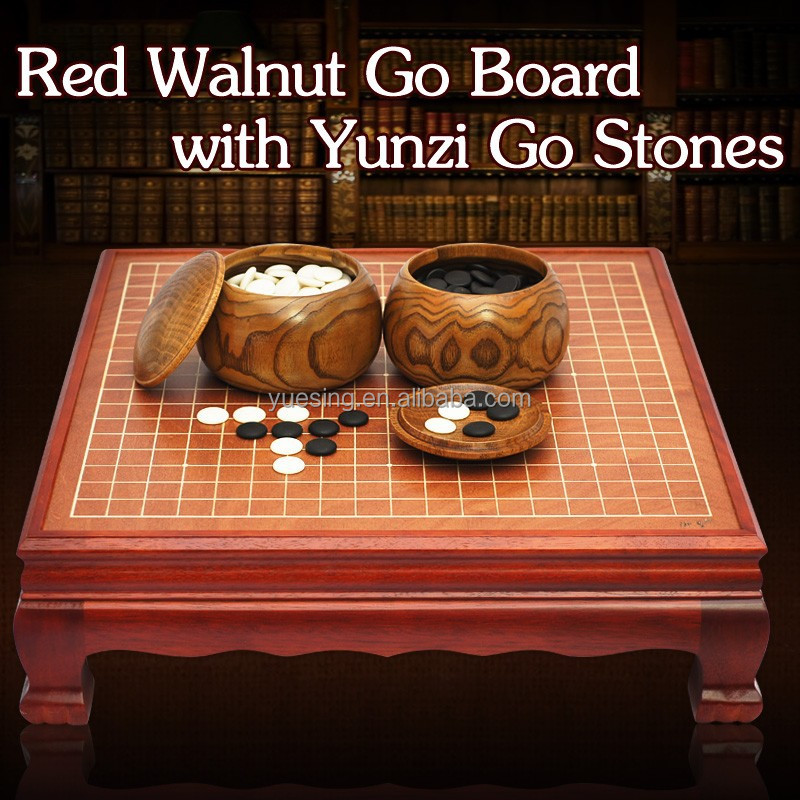 Go Game Set Weiqi Game with Red Walnut Go Board and Go Stone Pieces