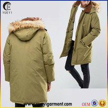 new designs lined woven fabric winter jackets men faux fur trim hood parka jacket with fleece collar