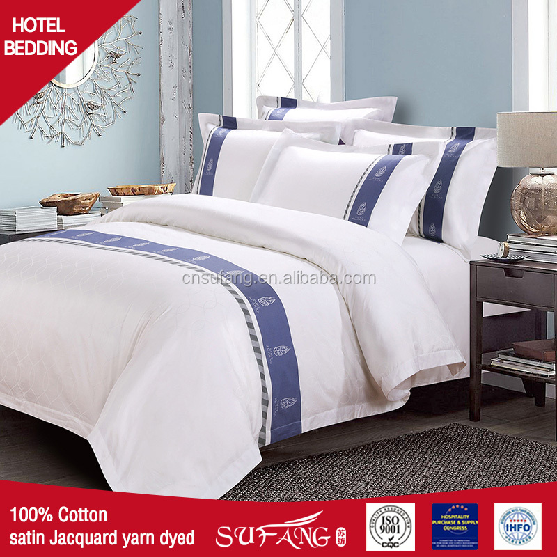 100% cotton satin +jacuqard +yarn died five star hotel linen queen king size factory price