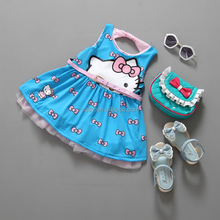 Sleeveless kids girls dress summer 2016 Kitty Cat princess toddler baby party dress fashion children casual dress with bow
