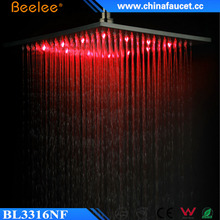 Beelee Big 16 inches Square Nickel Brushed LED Light Rainfall Overhead Shower