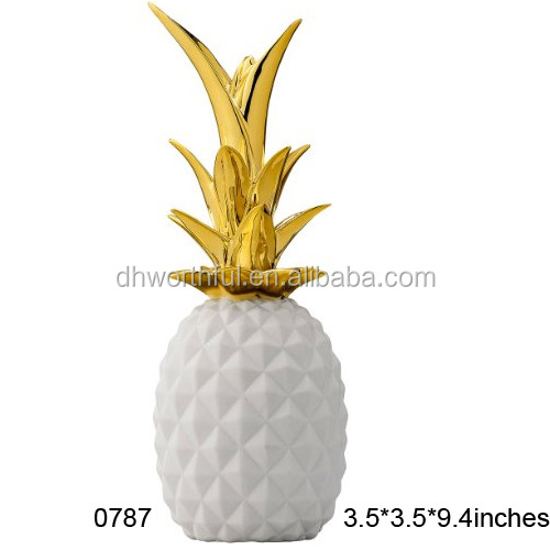 Wholesale white and gold ceramic pineapple decor