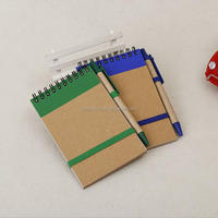 Promotional recycled paper pocket notebook with pen holder