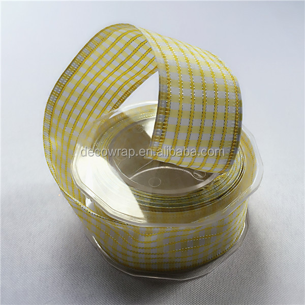 2015 Decorative Grid Ribbon/Tartan Ribbon/plaid ribbon Checked Ribbon