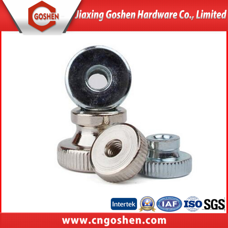 Galvanized and nickel plated Knurled nuts with collar