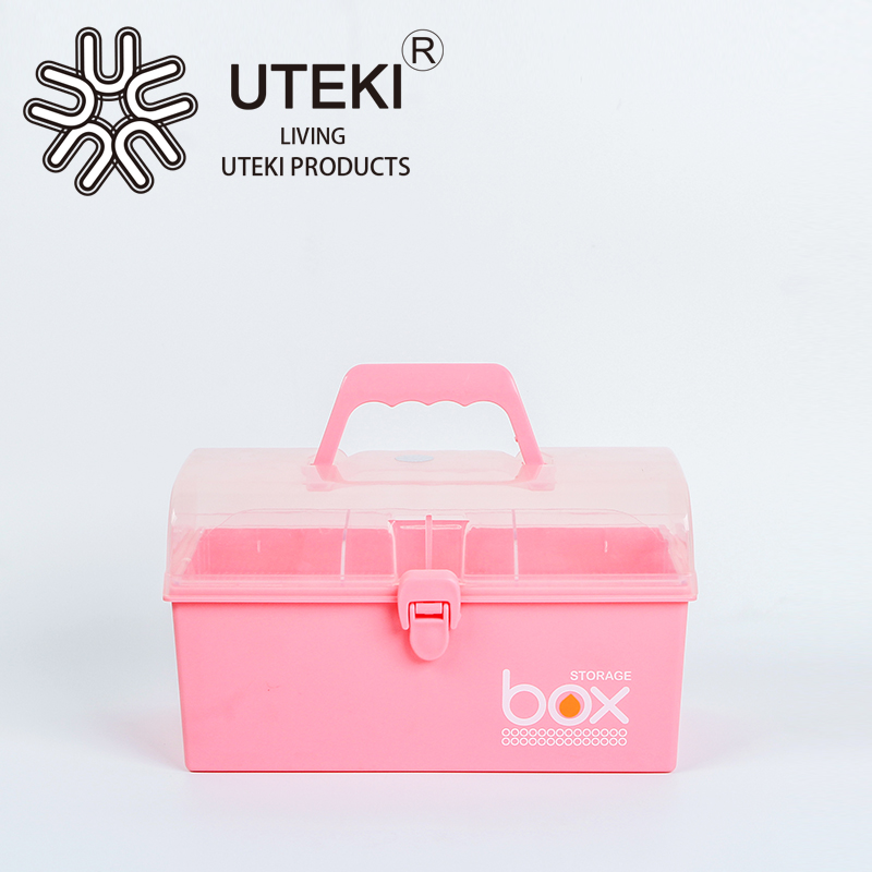 Double layer plastic makeup nail polish storage Box with handle