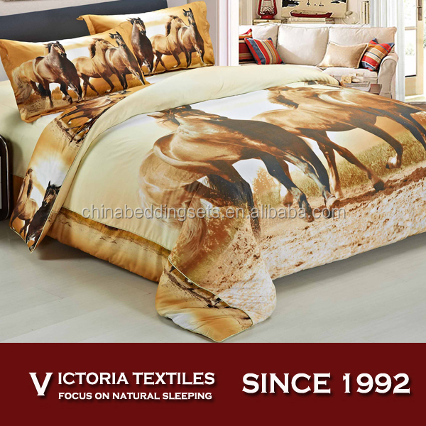 NEW microfiber 90gsm reactive printed bed in bag duvet cover sets horse print