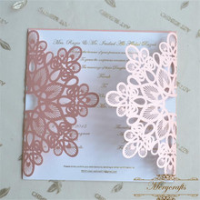 Ideal products pink laser cut luxurious wedding invitation cards
