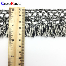 CRMT0398 fashion gray 100% cotton crochet tassel lace fabric for clothes