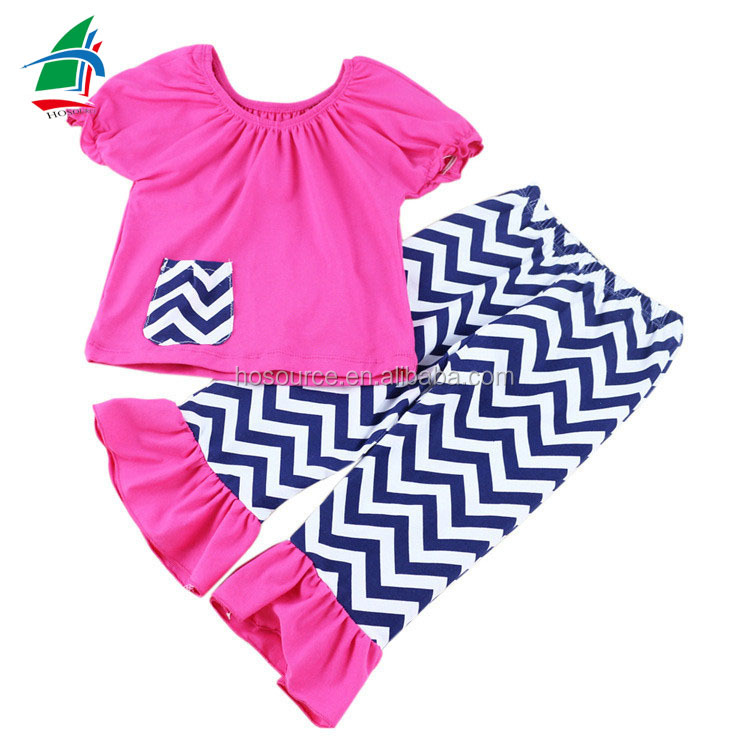 High Top Sale Chevron Kids Clothing Girls Fancy Toddler Clothes Manufacture Supply For Boutique