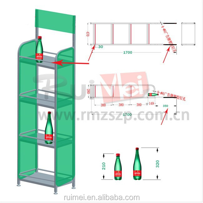 Free Standing 4 Tier Supermarket Retail House Food Display Shlef with ODM Logo