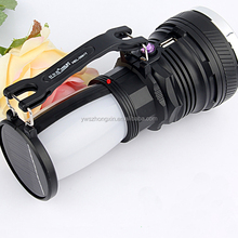 Multifunction powerful LED Flashlight Night Light Double Lamp 3-modes eletric torch camping Laterna Solar charge Tent Light