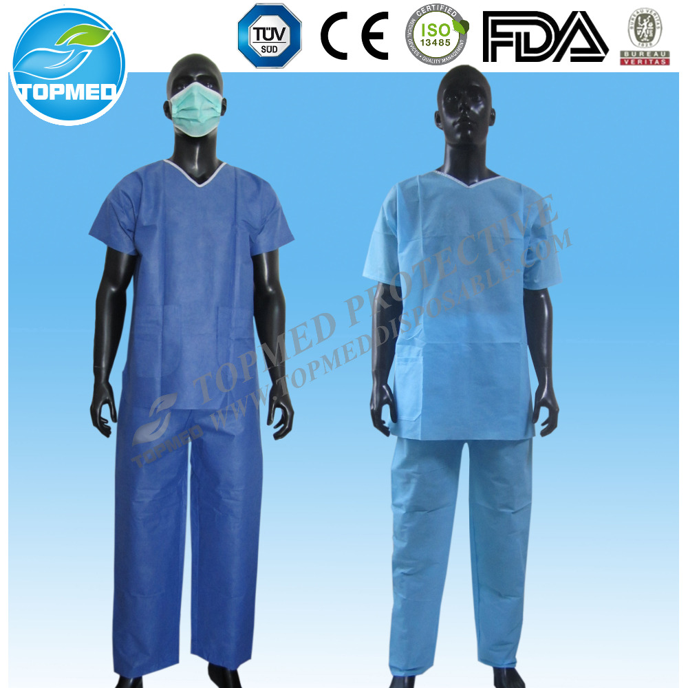 SMS BLUE scrub suit, Disposable SMS sauna suit for medical use