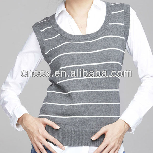 13stc5160 Striped Sleeveless Sweater Knit Vest For Girls - Buy Knit ...