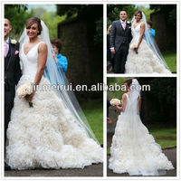 Custom available Jessica Ennis ball gown v neckline court train organza wedding dress gown JWD001