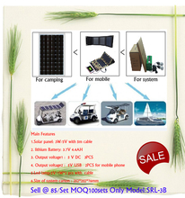 5V3W Automobile Solar Outdoor LED Lighting Systems Box Kit