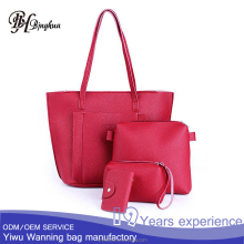 AL-017 New design China factory bag sets Casual ladies office leather handbag 4 pcs in 1 set with a card bag