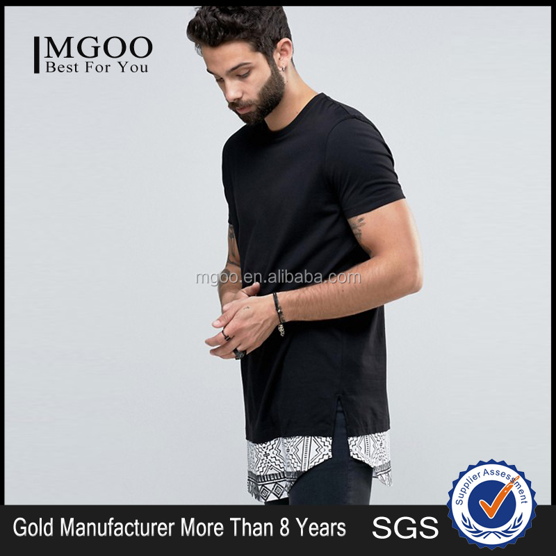 Mens Longline T-Shirt With Batik Print Curved Hem Extender Plain Black Oversized Extended Tee Shirt