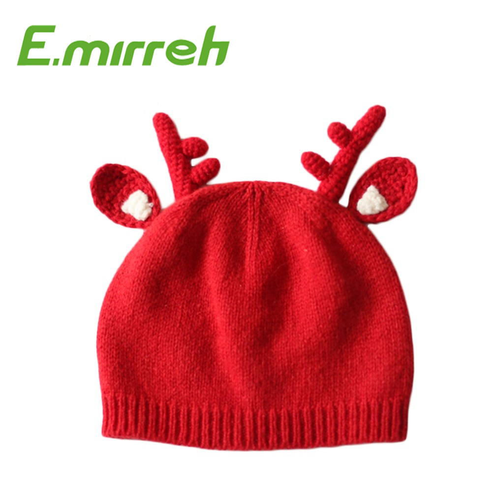 Christmas reindeer fashion style children knit hat kids red beanie winter hats for children christmas gifts and presents
