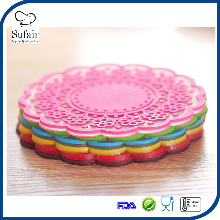 slip resistant lace fancy silicone cup pad for coffee, glass, wine,drink decorative