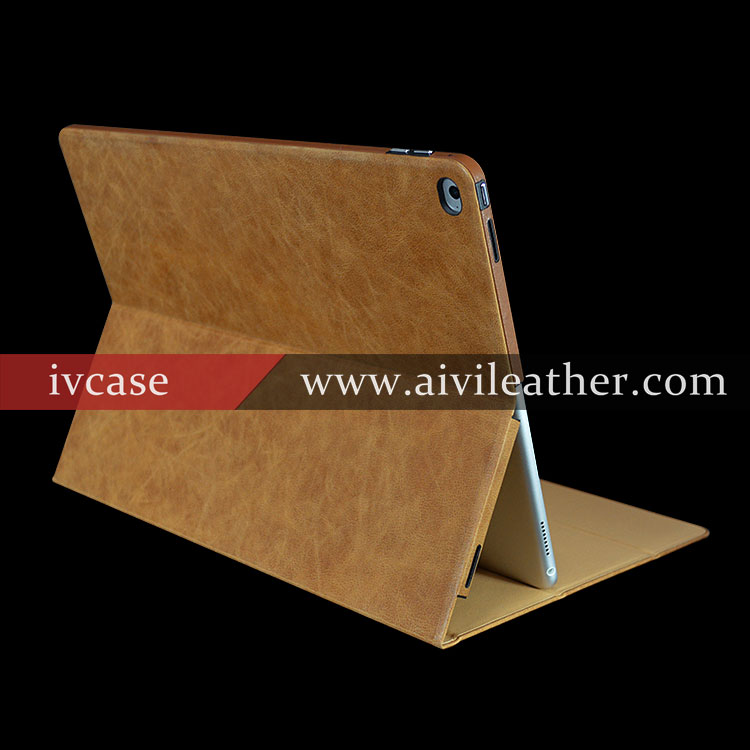 Top Grain Cowhide Leather Case For Ipad Pro Cover Booklet Stand Case