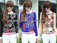 2014 top quality fashion printing t-shirts office uniform designs for women blouse