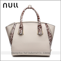 Korea Style Fashion Leopard Pattern Plain Artificial Leather Women Ladies Bags Handbag with Custom Metal Tags