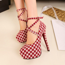 SAA4670 Korean style women shoes large size cross strap stylish red plaid fancy ladies high heel shoes