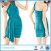 Green one shoulder wrap dress 2016 young girl sexy bandage dress