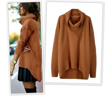 Hot Sell Fashion High Neck Plus Size Irregular Pullover Women Sweater