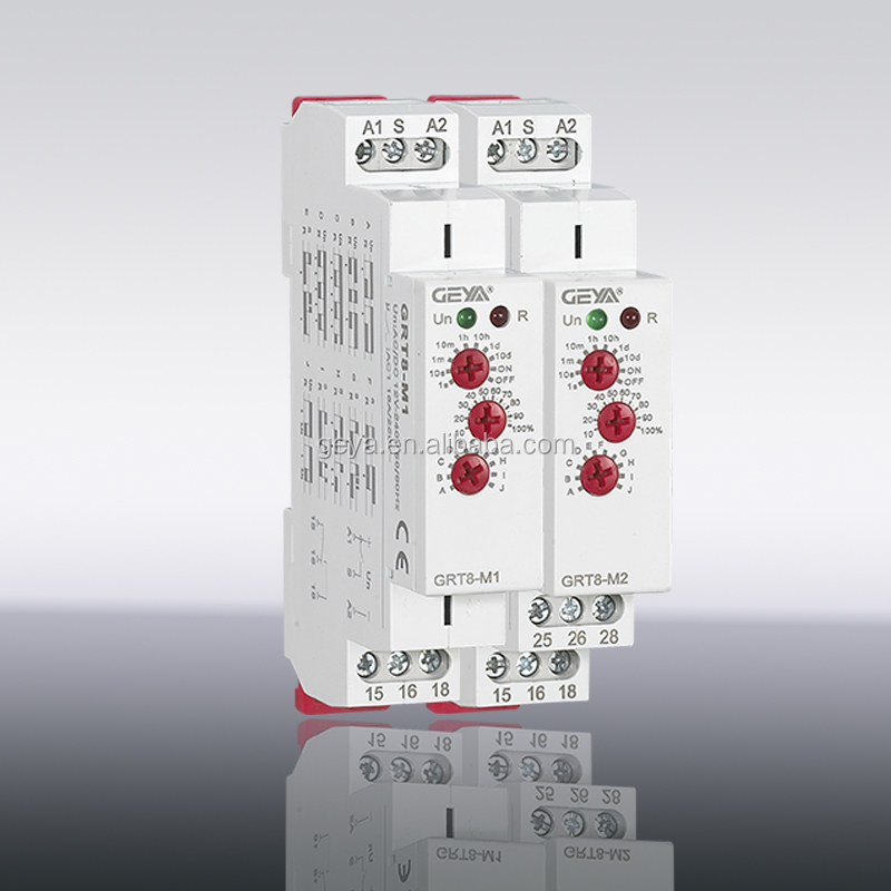GEYA New design GRT8-M 10 Functions Time Relay Time Switch Mounted Modular Din Rail Relay 110v switch relay