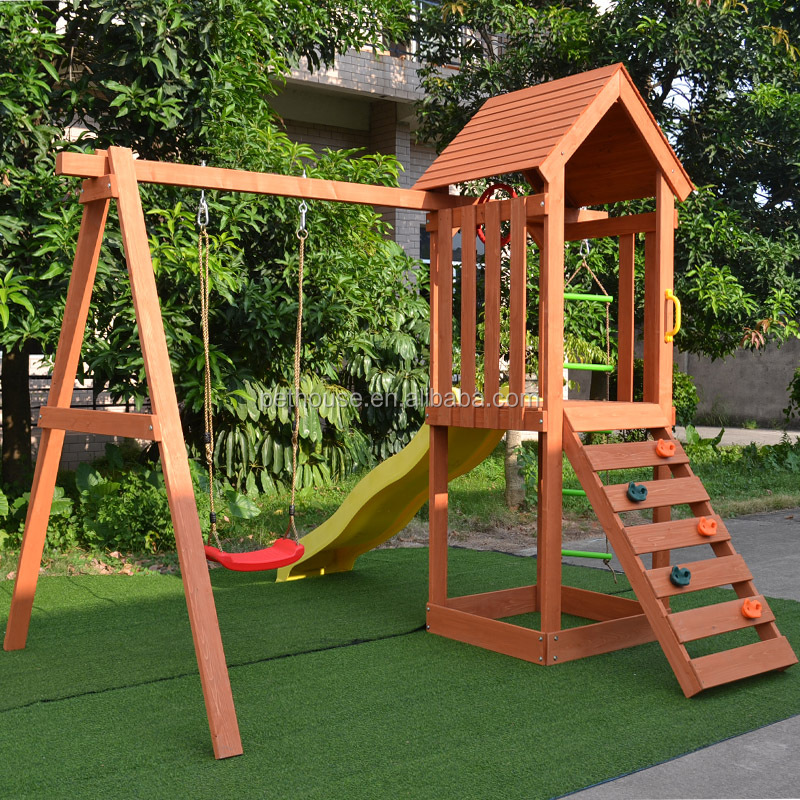 Outdoor wooden fun kids play toys backyard playset