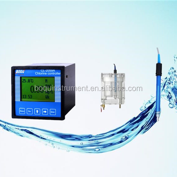 residual chlorine sensor with flow cell and meter controller