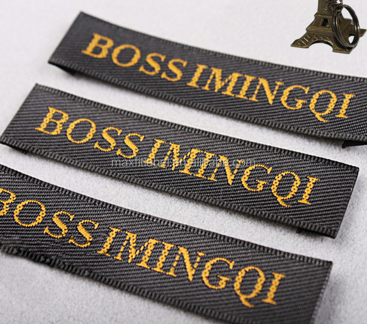 2018 high density damask woven label, laser cut woven tapes