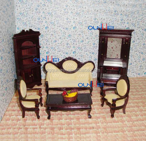 Eco-Friendly DIY Wooden Dollhouse Miniature Furnitures Living Room Cabinet Table Sofa Chair Sets QW80001