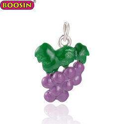 2018 Fruit Grape Shape Enamel Pendant Charms Form Boosin Jewelry Making