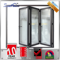 Australia standard powder coated double glazed aluminium retractable door bifold style with blinds inside